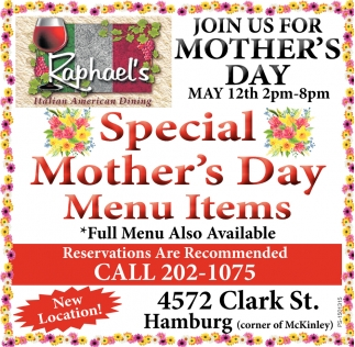 Special Mother's Day Menu Items