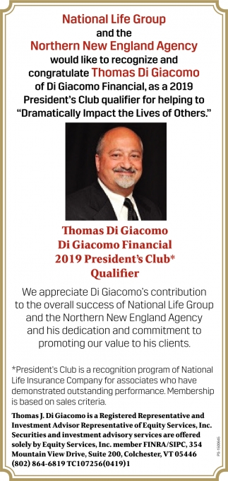 Would Like To Recognize And Congratulate Thomas Di Giacomo