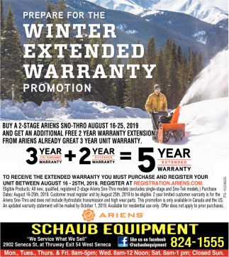 Prepare For The Winter Extended Warranty Promotion