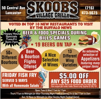 Beer & Food Specials During Bills Games