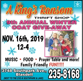 9th Annual Winter Coat Give-away