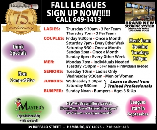 Fall Leagues Sing Up Now!!!