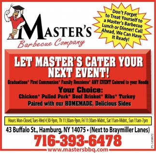 Let Master's Cater Your Next Event!