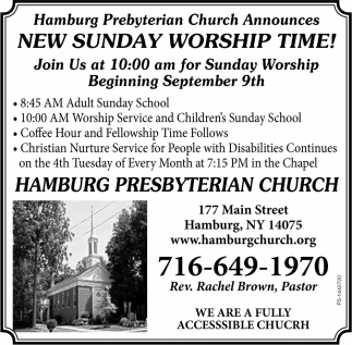 New Sunday Worship Time!