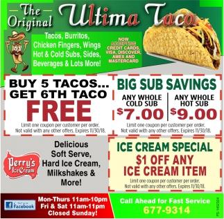Buy 5 Tacos.. Get 6th Taco Free