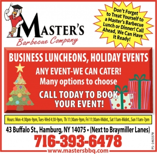 Business Luncheons, Holiday Events