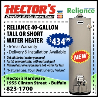 Reliance 40-Gallon Tall Or Short Water Heater