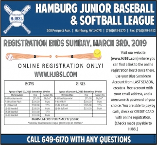 Registration Ends Sunday, March 3th, 2019
