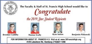 Congratulate The 2019 Star Student Reipients